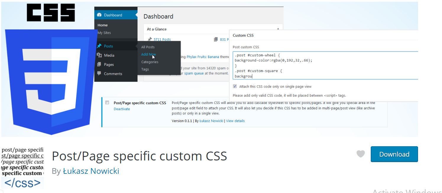 page level css in wordpres
