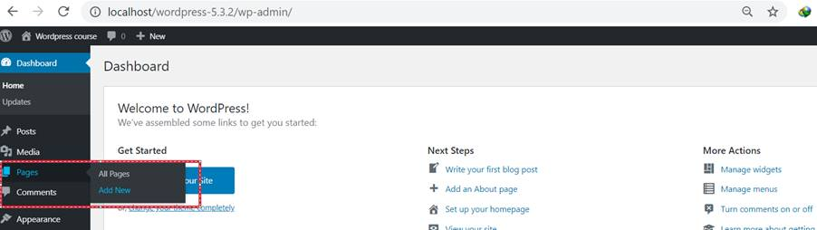 add pages in wordpress website